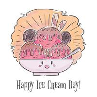 Cute Ice Cream Character With Cookies And Chocolate Syrup Smiling vector