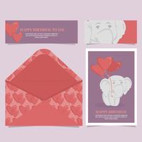 Carte d'anniversaire de vecteur mignon éléphant