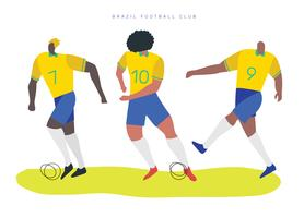Ilustração plana de vetor de personagens de futebol brasileiro