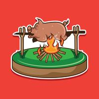 Pig Roast Sticker Vector