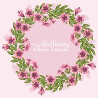 Guirnalda de flores de azalea dibujado a mano de vector