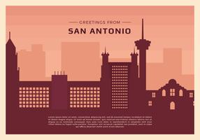 San Antonio Vykort Vector Illustration