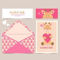vector linda tarjeta de jirafa
