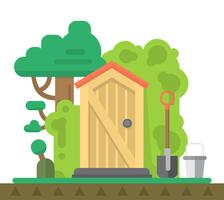 Flat Gardening Shed vector