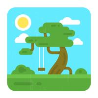 Flat Illustration with a Tree vector