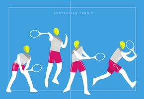 Australiensisk Tennis Logo Mascot Vector Flat Illustration