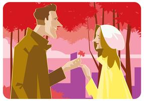 Romantic Couple at Springtime Vector