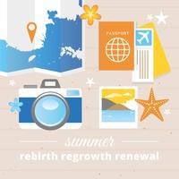 Vecteur des éléments et des icônes de voyage d'été