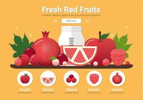 Vector frutas rojas frescas