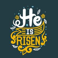 He Is Risen Typography vector