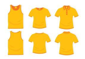 Gele kleding platte ontwerpsjabloon
