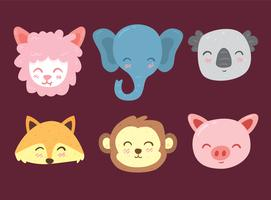 Cute Animal Face Colletion Vector