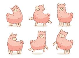 Pink Ilama Collection Vector Set