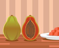 Papaya Illustration Vector