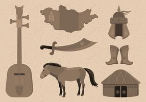 Mongol Item Collection Vector Illustration