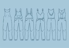 Overalls Outline Vector