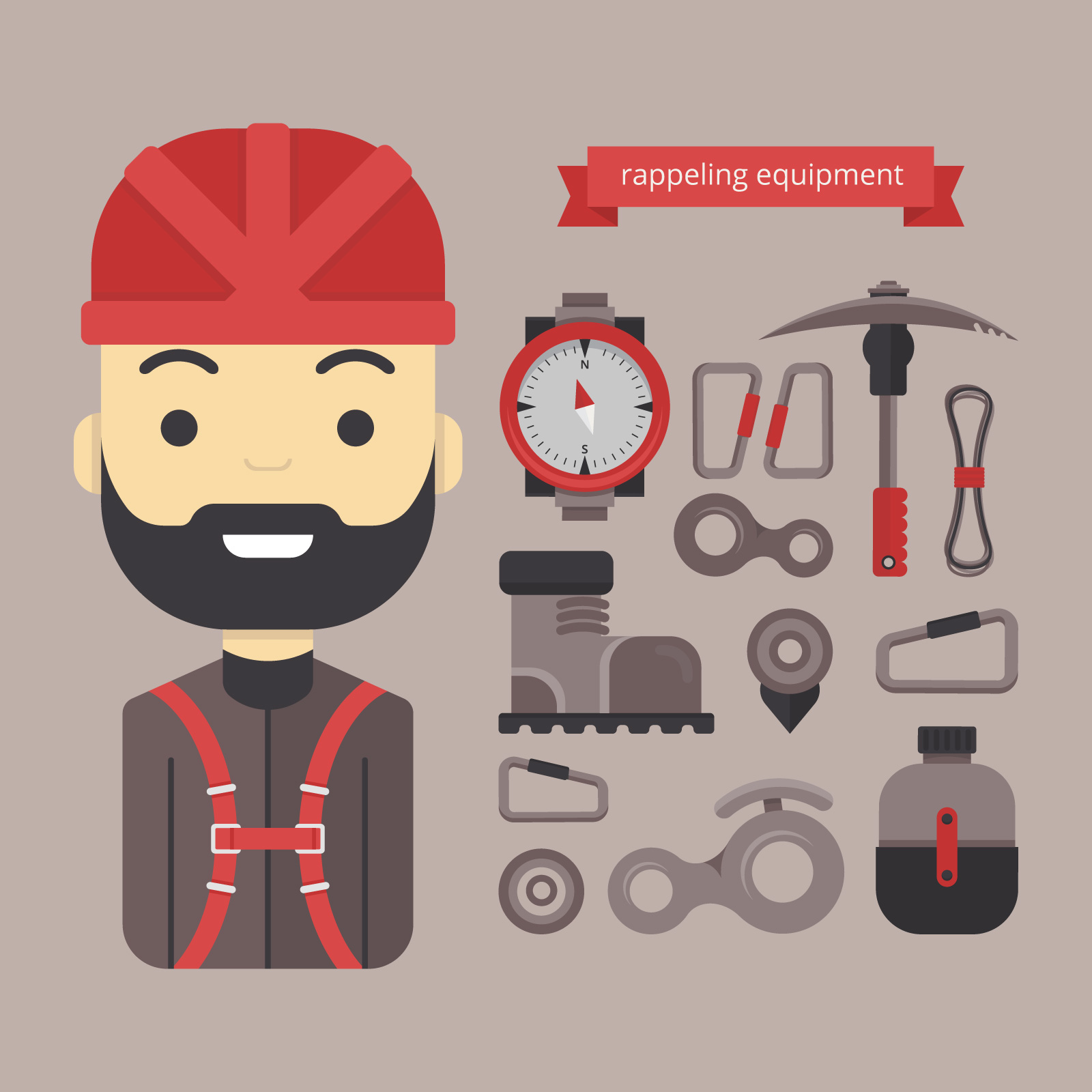 Material Design And Icon Equipment For Rappel Hiking And Outdoor Sports Download Free Vectors Clipart Graphics Vector Art