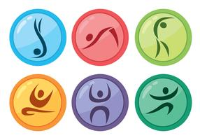 Colored Gymnast Circle Icons