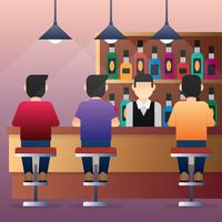 Group Of People Man Sitting At Bar Counter Illustration