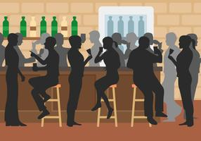 Crowded Bar Vector Illustration