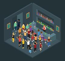 Isometric Crowded Bar Vector Illustration