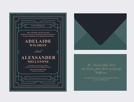 Art Deco Wedding Card vector
