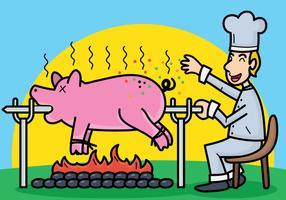 Pig roast vector illustration