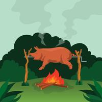 Pig Roasted Illustration