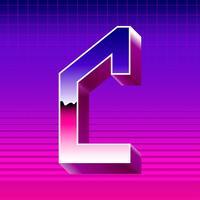 Letra C Typograpy Futuristic Vector