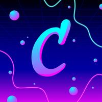 Letter C Typography Electronic Vector