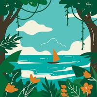 Tropical Landscape Forest And Sea Vector