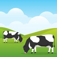 Cows Graze In A Good Sunny Day Field On Nature Background Illustration