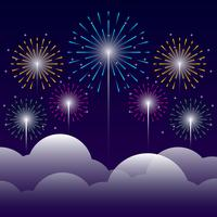Firework On Night Background Illustration