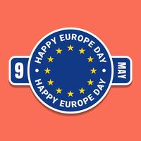 9 May Europe Day Blue Label With Flag