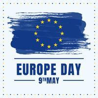 Europe Day Holiday Celebration Stars On Blue Painted Background Illustration