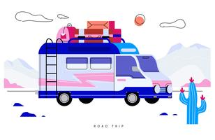Happy Family Van Road Trip Vector ilustración plana