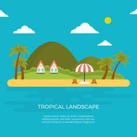 Ilustración plana del vector del paisaje tropical