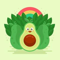 Avocado Kawai-Vektor-Illustration