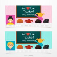 Vector Teacher Facebook Cover Template Set