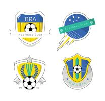 Weinlese-brasilianisches Fußball-Flecken-Logo Flat Vector Illustration