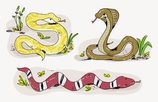 Ilustración de vector de serpiente linda historieta dibujada a mano