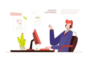 Customer Service Man en Call Center Office Vector Illustration
