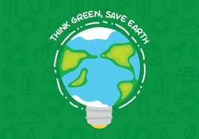 Think Green Poster With Earth Bulb vector