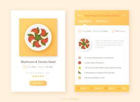 Ricetta UI Design With Food App Icon Vector
