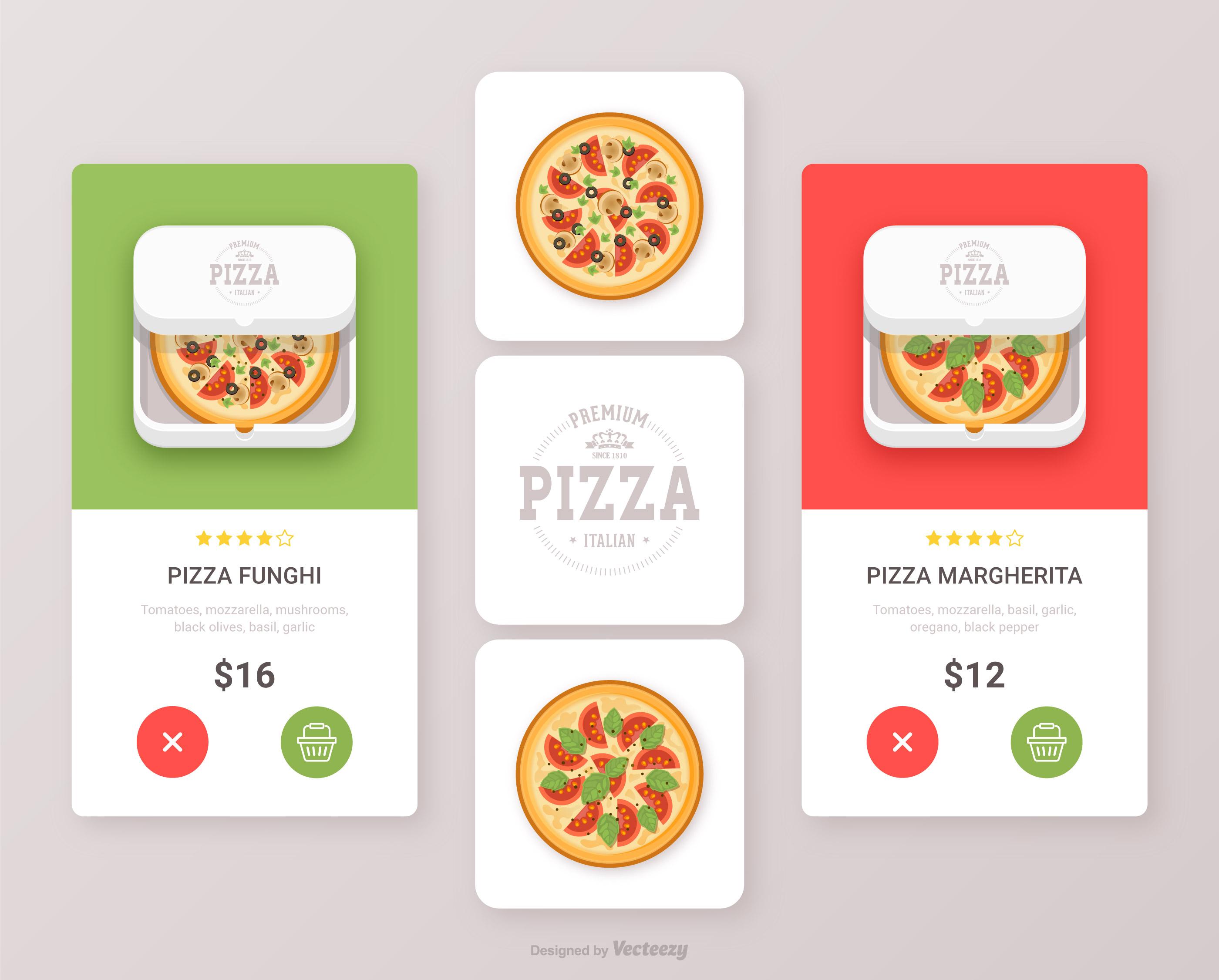 App Di Design pizza mat app ikon vector ui design set - ladda ner gratis