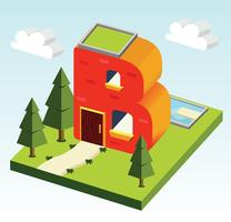 Letter B Isometric Typography