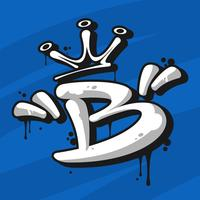 Arte de rua letra B tipografia Vector