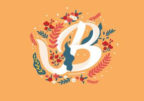 Letter B Typography with Flowers Vector