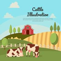 Cattle on Farm Landscape Illustration Vector