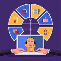 Servicio al cliente infografía vectorial